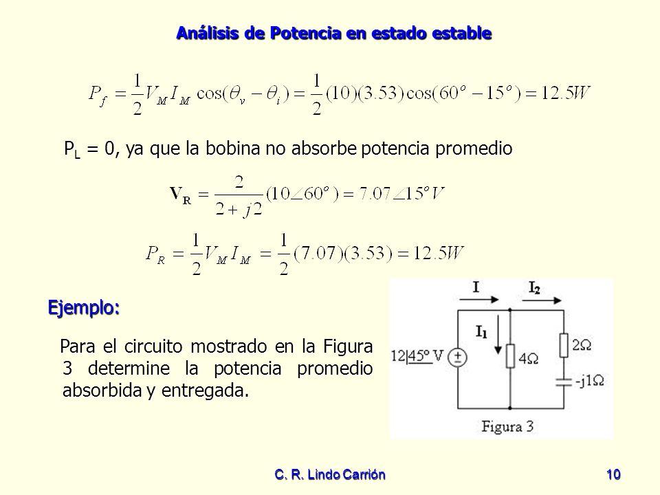PL = 0, ya que la bobina no absorbe potencia promedio