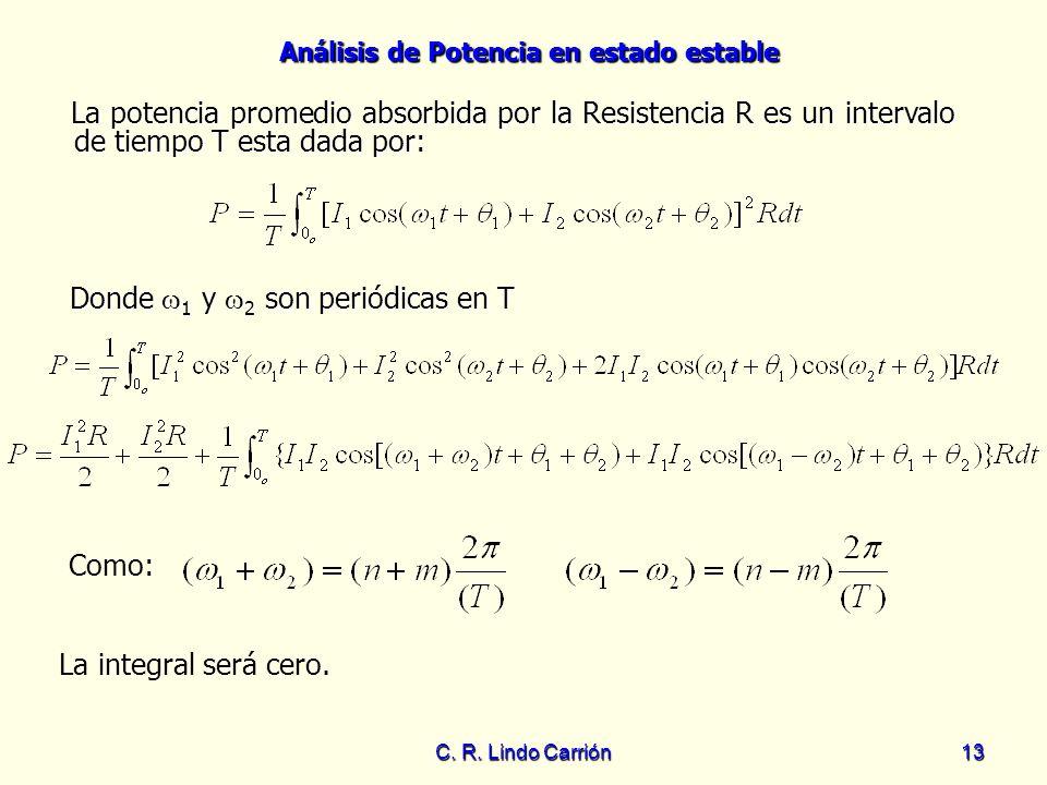 Donde 1 y 2 son periódicas en T