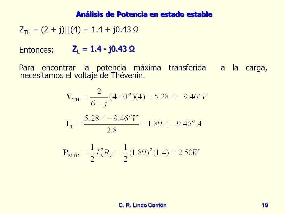 ZTH = (2 + j)||(4) = 1.4 + j0.43 Ω ZL = 1.4 - j0.43 Ω Entonces: