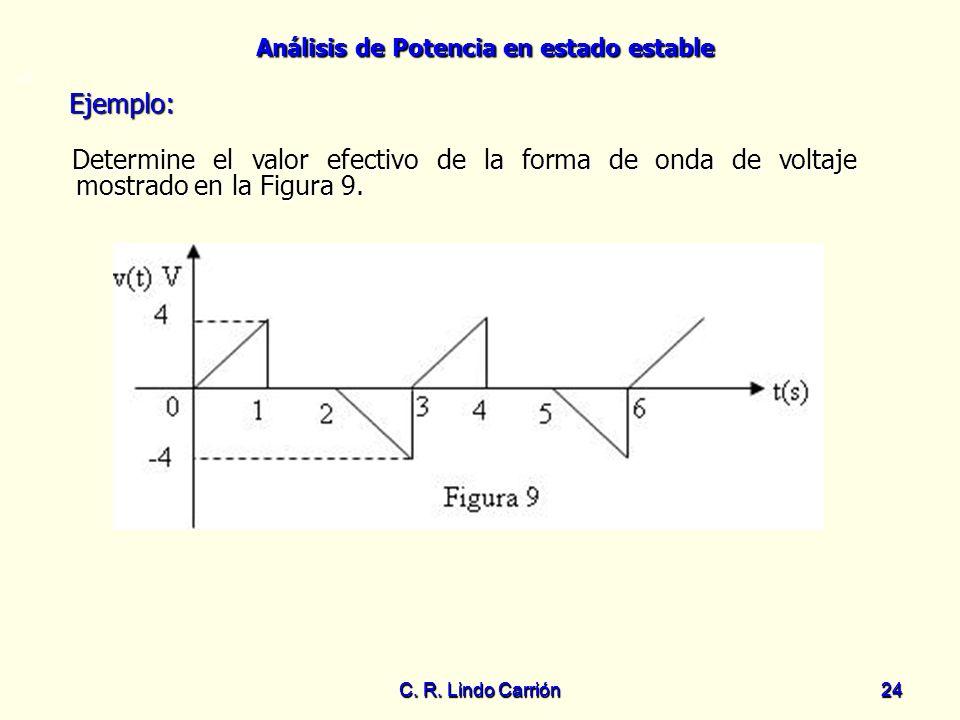 =0 Ejemplo: Determine el valor efectivo de la forma de onda de voltaje mostrado en la Figura 9. C. R. Lindo Carrión.