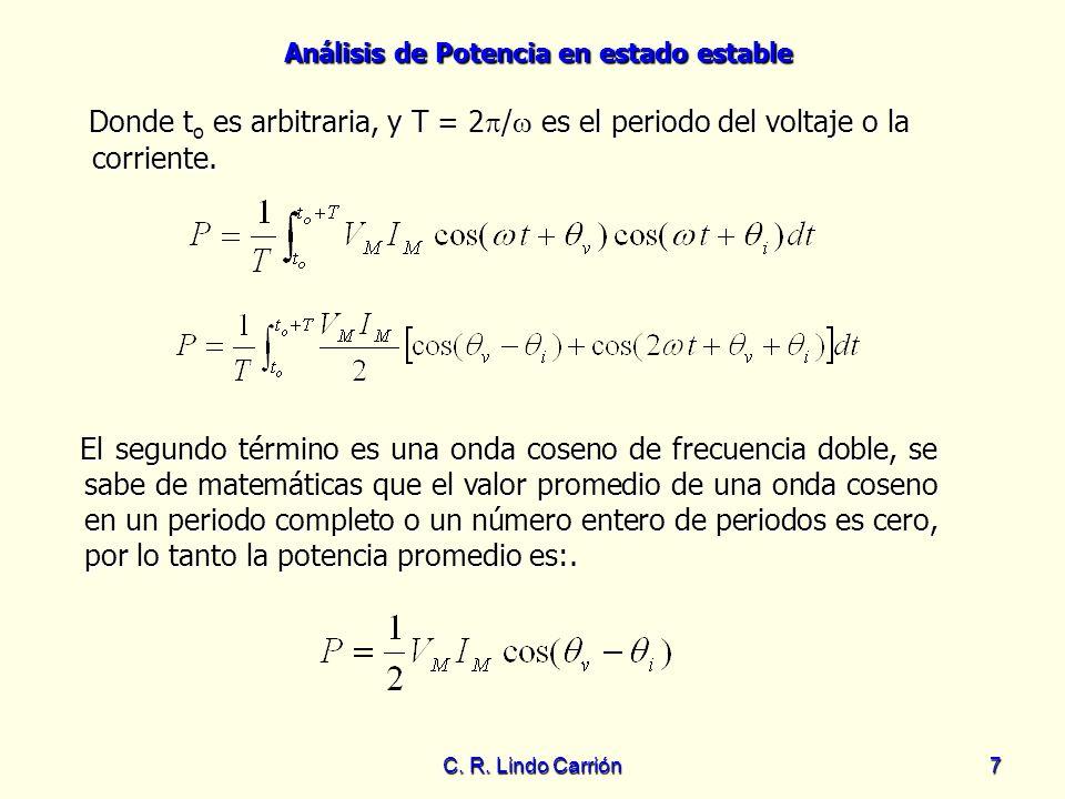 Donde to es arbitraria, y T = 2/ es el periodo del voltaje o la corriente.