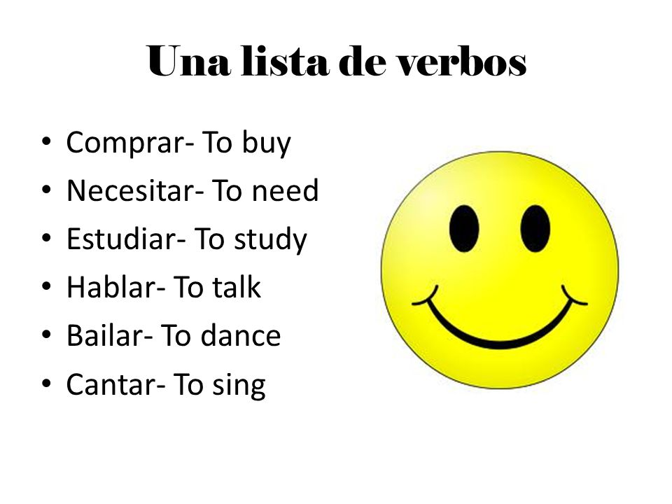 Una lista de verbos Comprar- To buy Necesitar- To need
