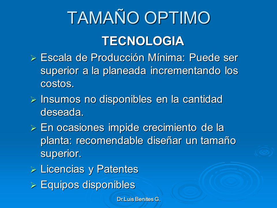 TAMAÑO OPTIMO TECNOLOGIA