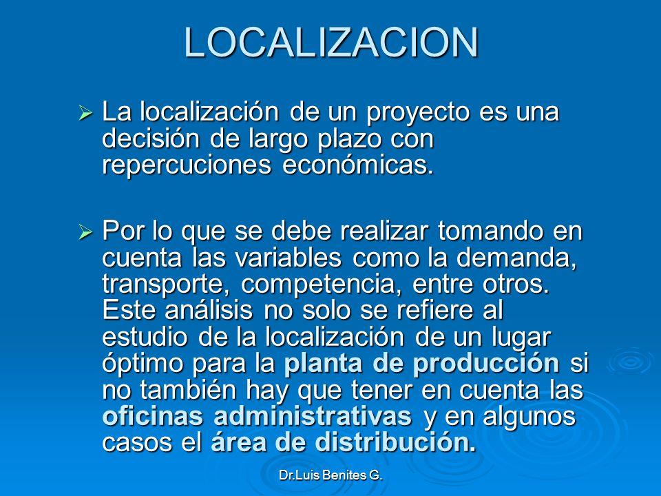 LOCALIZACION La localización de un proyecto es una decisión de largo plazo con repercuciones económicas.