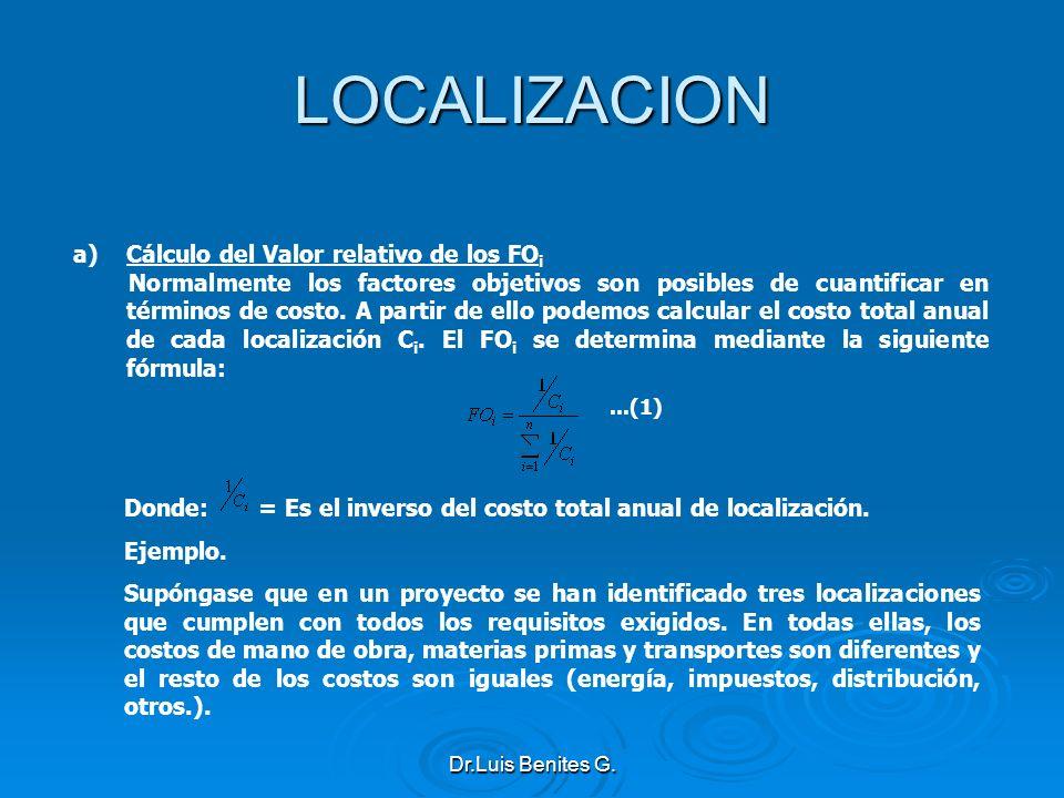 LOCALIZACION Cálculo del Valor relativo de los FOi