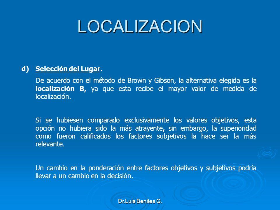 LOCALIZACION Selección del Lugar.