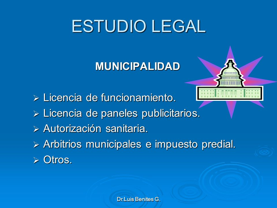 ESTUDIO LEGAL MUNICIPALIDAD Licencia de funcionamiento.