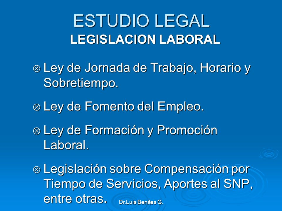ESTUDIO LEGAL LEGISLACION LABORAL