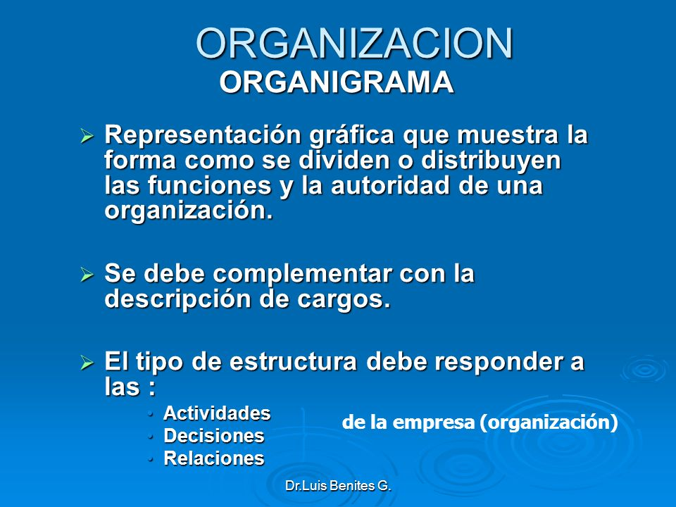 ORGANIZACION ORGANIGRAMA