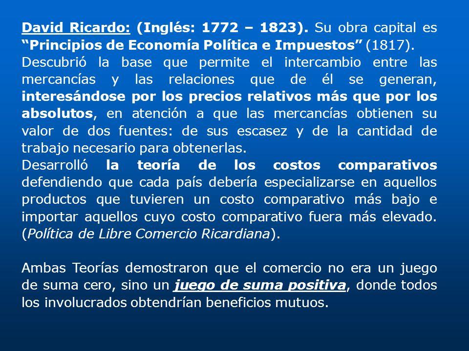 David Ricardo: (Inglés: 1772 – 1823)