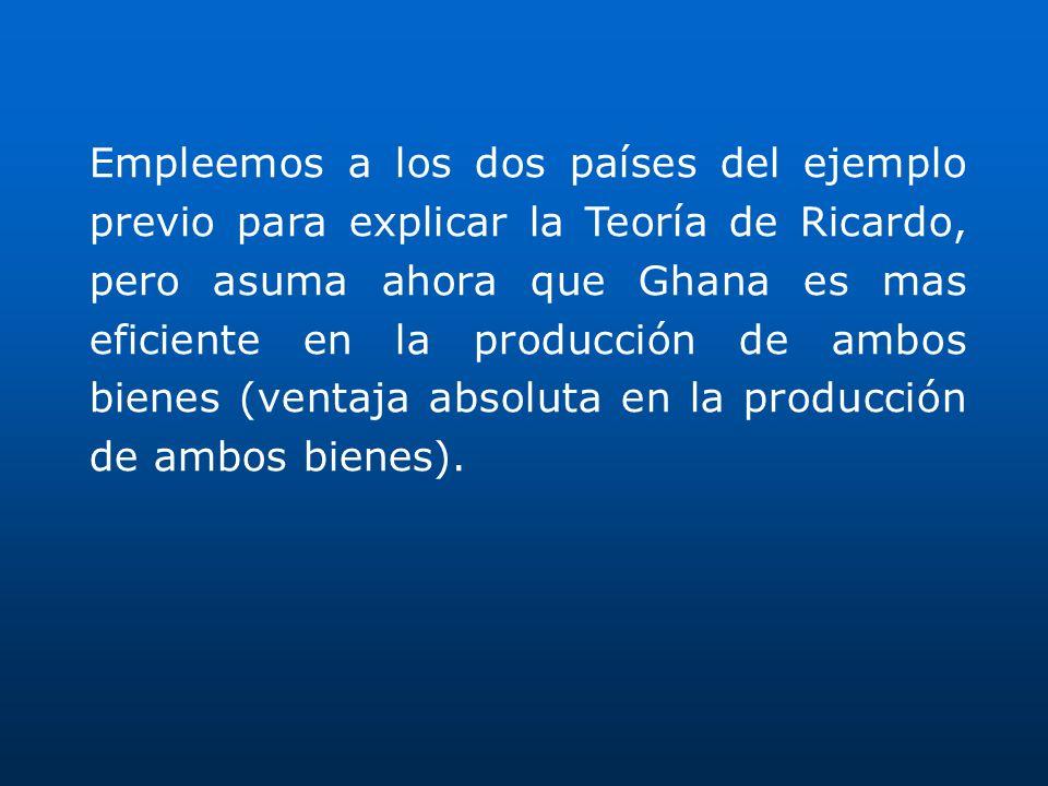 Empleemos a los dos países del ejemplo previo para explicar la Teoría de Ricardo, pero asuma ahora que Ghana es mas eficiente en la producción de ambos bienes (ventaja absoluta en la producción de ambos bienes).