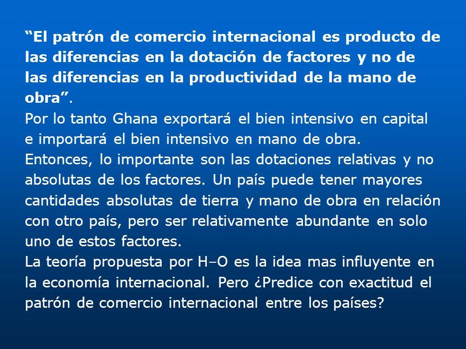 El patrón de comercio internacional es producto de las diferencias en la dotación de factores y no de las diferencias en la productividad de la mano de obra .