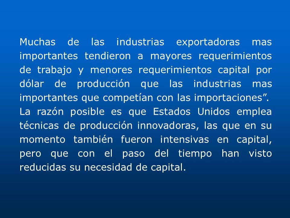 Muchas de las industrias exportadoras mas importantes tendieron a mayores requerimientos de trabajo y menores requerimientos capital por dólar de producción que las industrias mas importantes que competían con las importaciones .