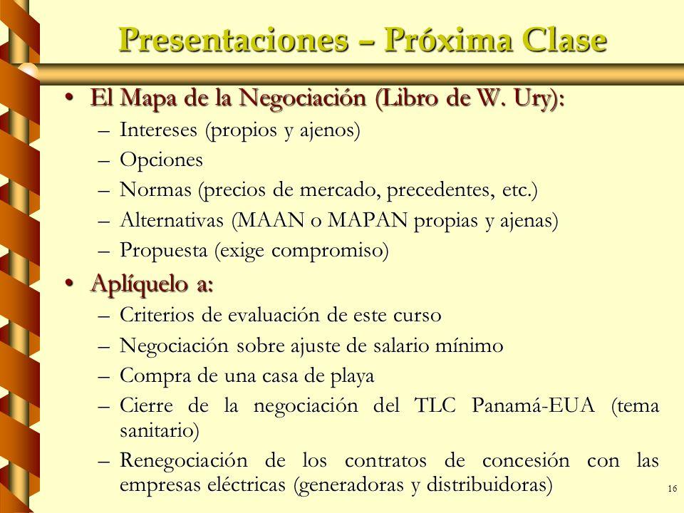 Presentaciones – Próxima Clase
