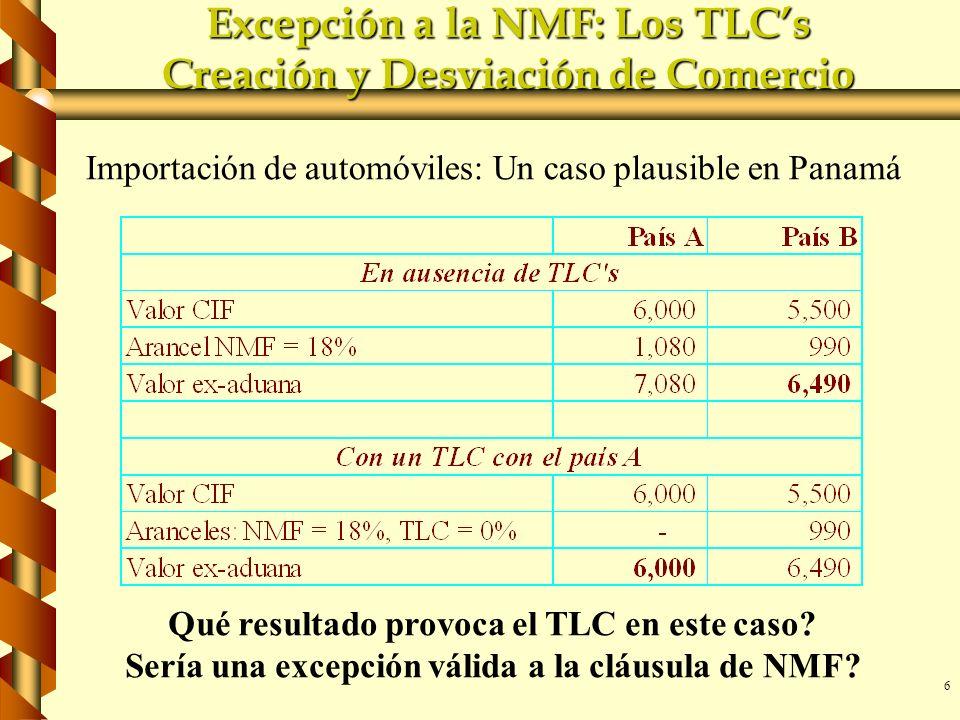 Excepción a la NMF: Los TLC's Creación y Desviación de Comercio