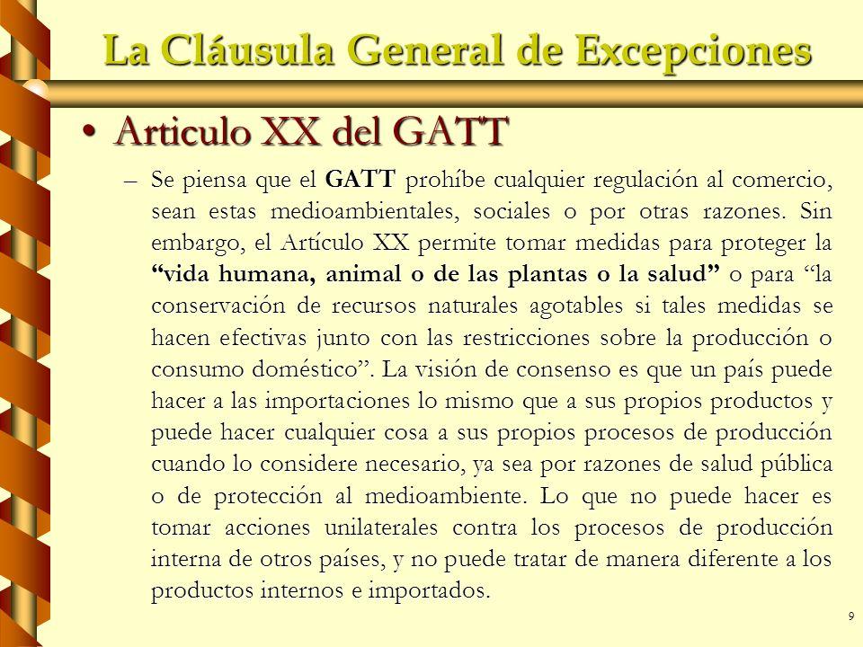 La Cláusula General de Excepciones