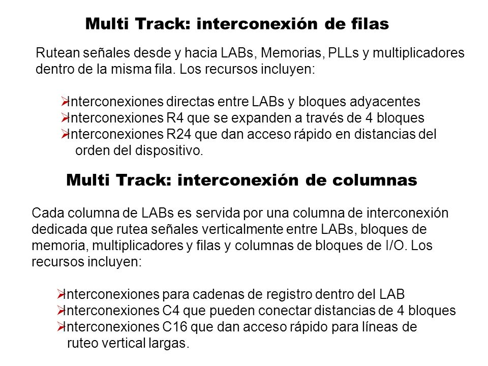 Multi Track: interconexión de filas