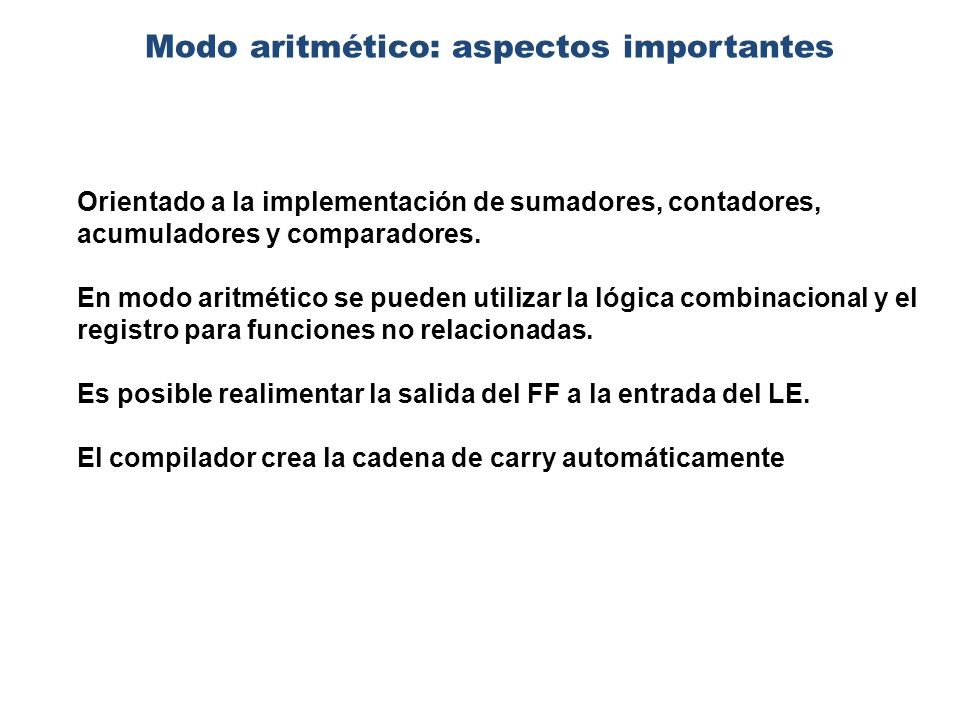 Modo aritmético: aspectos importantes