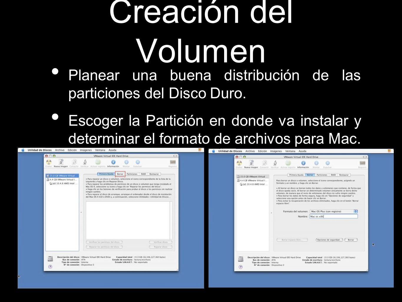 Creación del Volumen Planear una buena distribución de las particiones del Disco Duro.