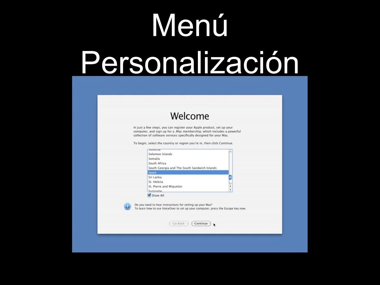 Menú Personalización