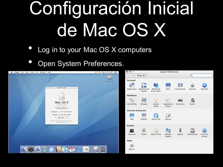 Configuración Inicial de Mac OS X