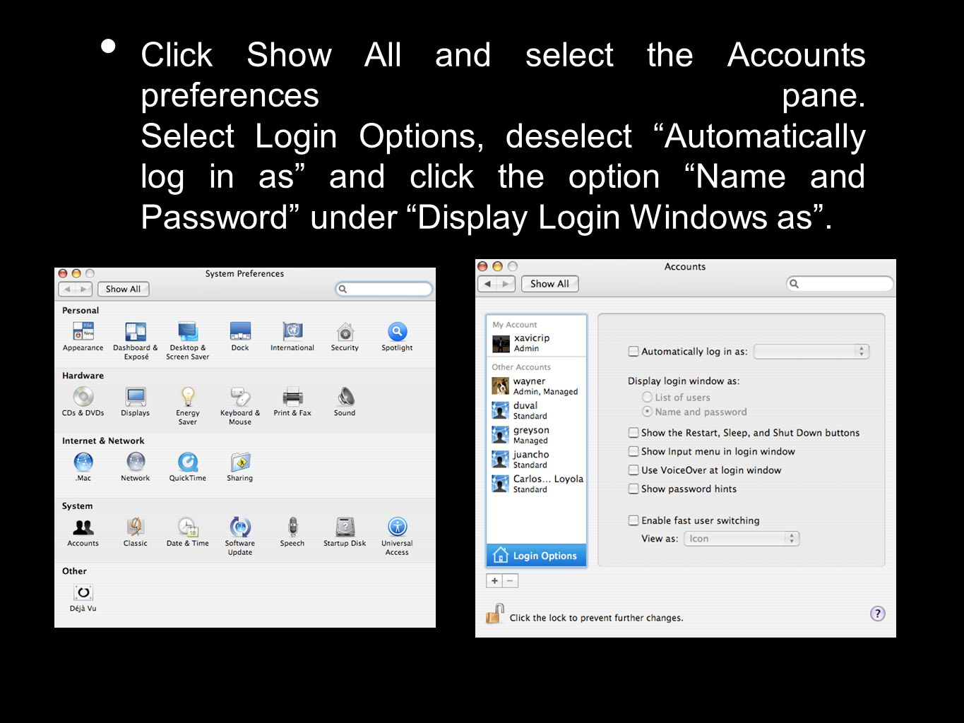Click Show All and select the Accounts preferences pane