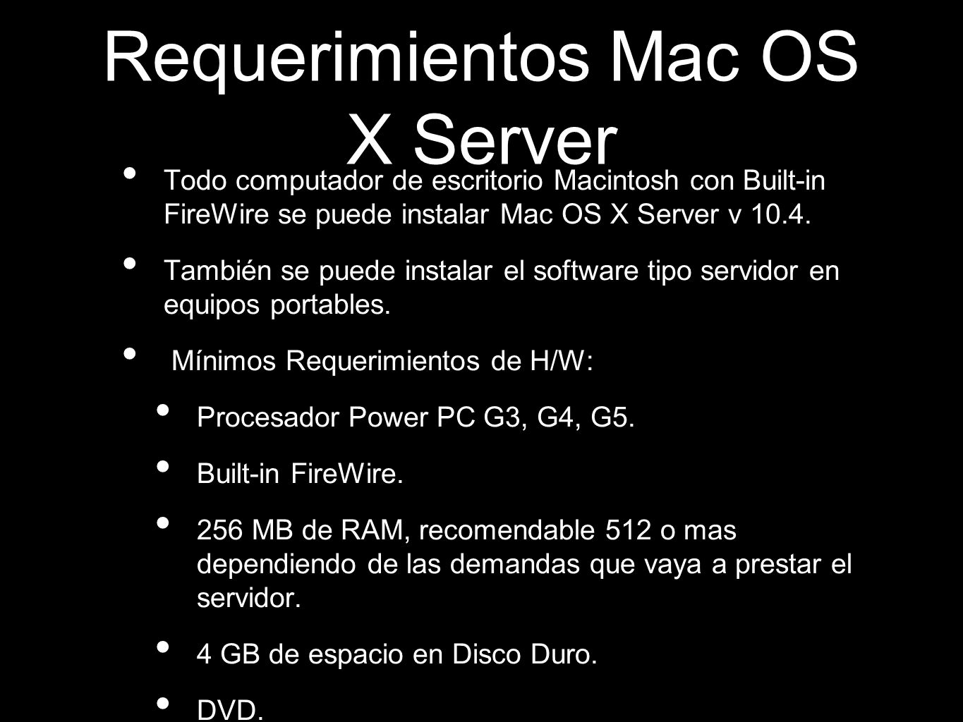 Requerimientos Mac OS X Server