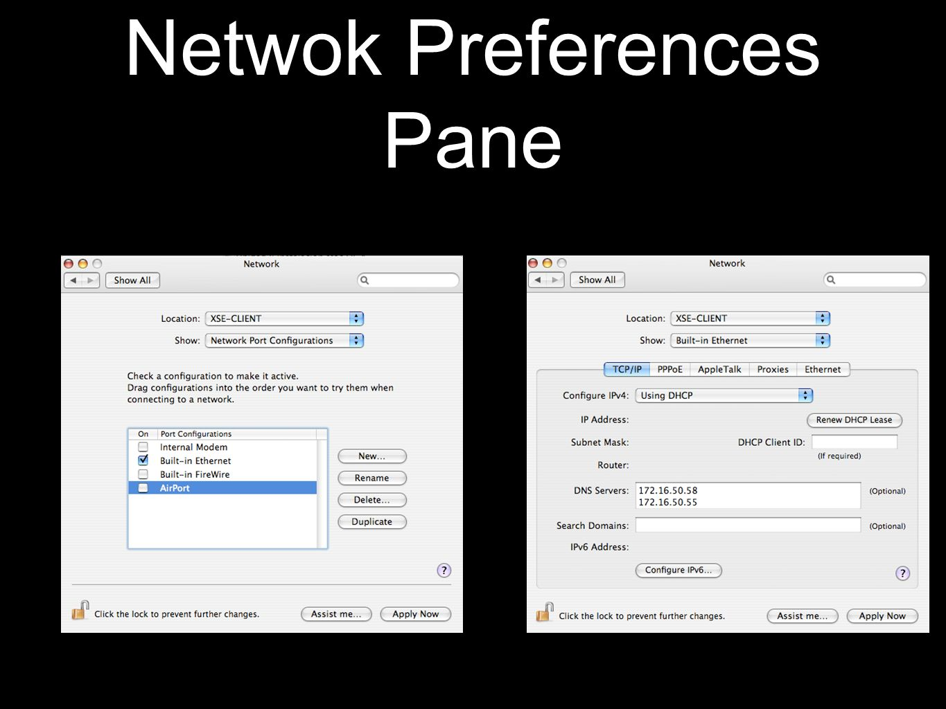 Netwok Preferences Pane