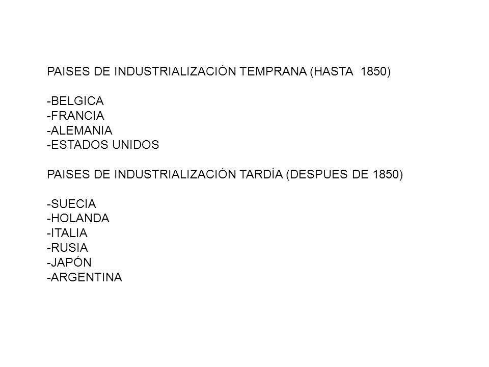 PAISES DE INDUSTRIALIZACIÓN TEMPRANA (HASTA 1850)