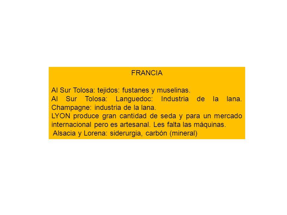 FRANCIA Al Sur Tolosa: tejidos: fustanes y muselinas. Al Sur Tolosa: Languedoc: Industria de la lana. Champagne: industria de la lana.