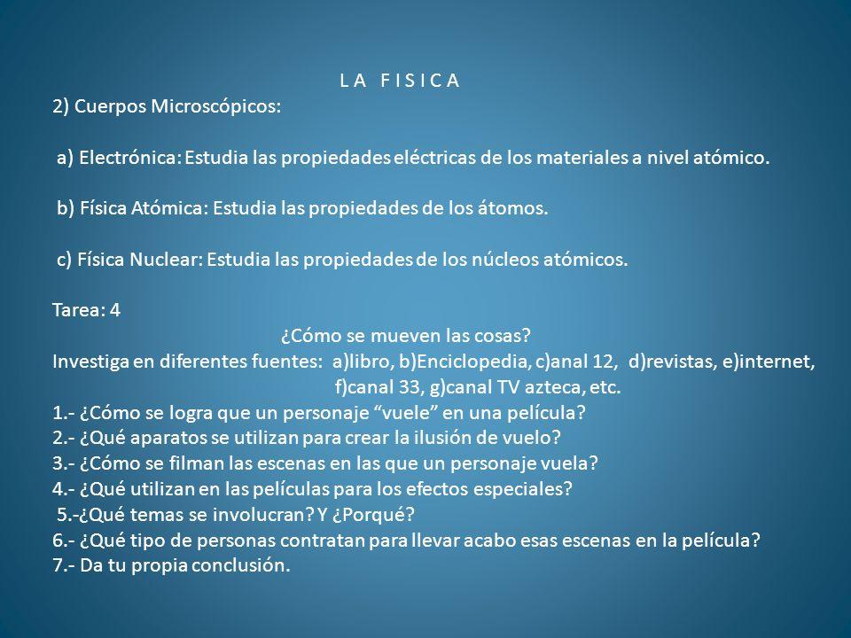 L A F I S I C A 2) Cuerpos Microscópicos: a) Electrónica: Estudia las propiedades eléctricas de los materiales a nivel atómico.