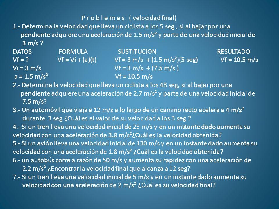 P r o b l e m a s ( velocidad final)