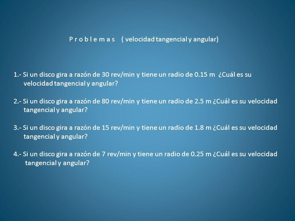 P r o b l e m a s ( velocidad tangencial y angular)