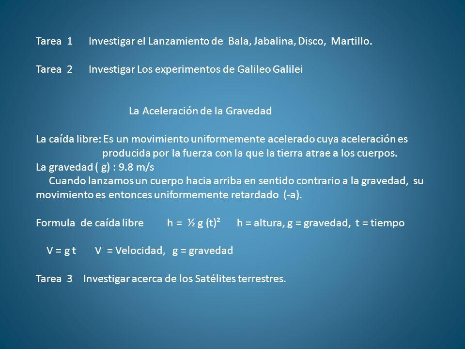 Tarea 1 Investigar el Lanzamiento de Bala, Jabalina, Disco, Martillo.