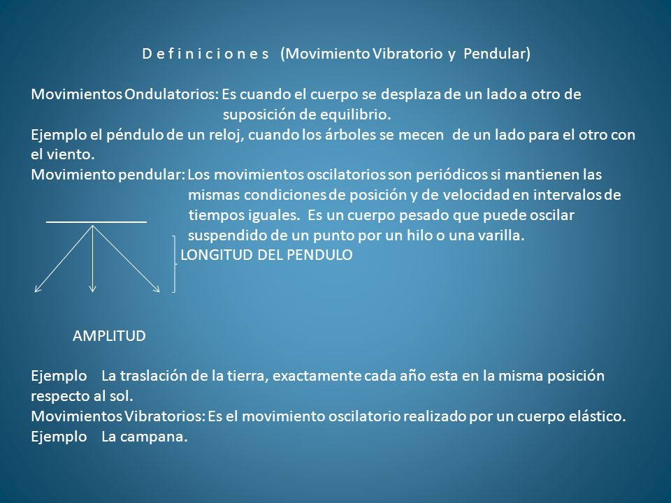 D e f i n i c i o n e s (Movimiento Vibratorio y Pendular)