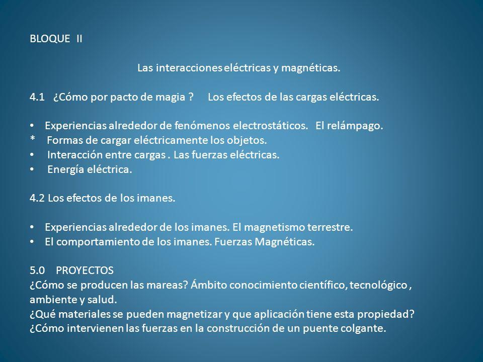 BLOQUE II Las interacciones eléctricas y magnéticas. 4.1 ¿Cómo por pacto de magia Los efectos de las cargas eléctricas.