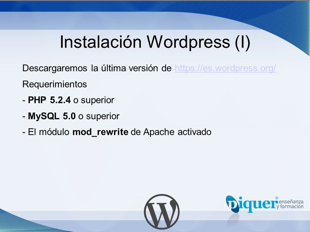 Instalación Wordpress (I)