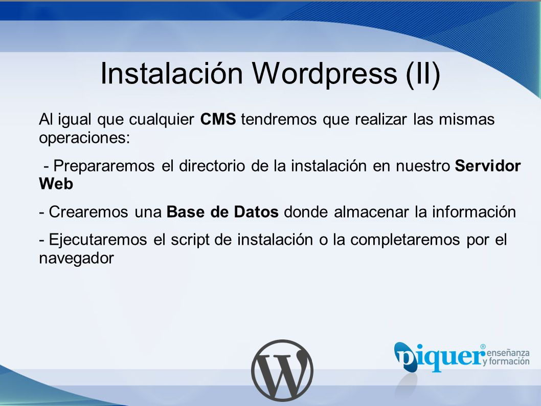 Instalación Wordpress (II)