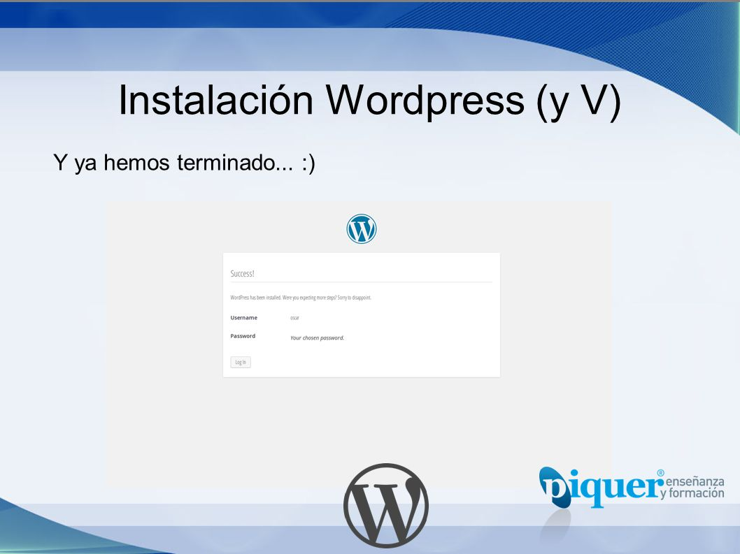 Instalación Wordpress (y V)