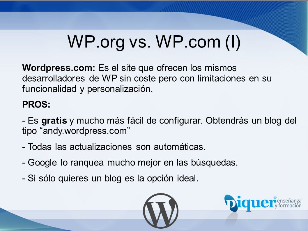 WP.org vs. WP.com (I)
