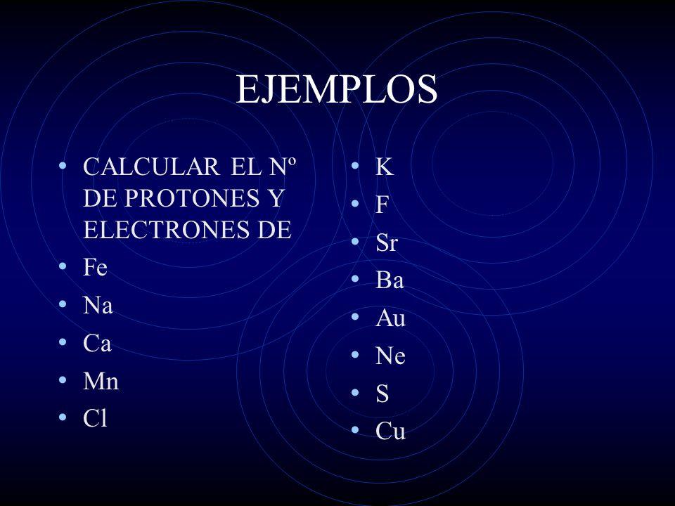 EJEMPLOS CALCULAR EL Nº DE PROTONES Y ELECTRONES DE Fe Na Ca Mn Cl K F