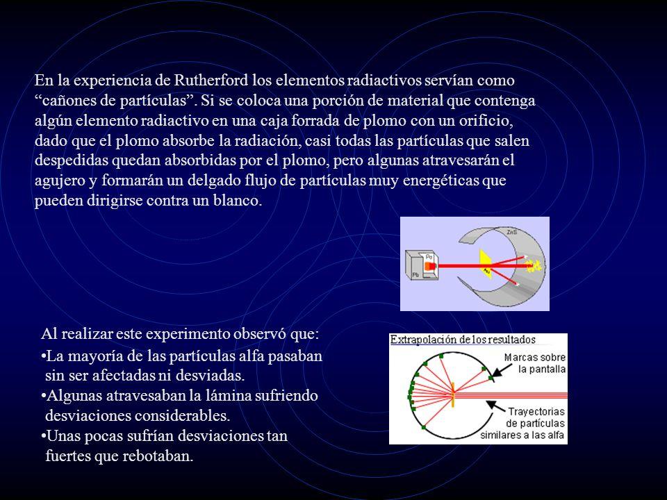 En la experiencia de Rutherford los elementos radiactivos servían como cañones de partículas . Si se coloca una porción de material que contenga algún elemento radiactivo en una caja forrada de plomo con un orificio, dado que el plomo absorbe la radiación, casi todas las partículas que salen despedidas quedan absorbidas por el plomo, pero algunas atravesarán el agujero y formarán un delgado flujo de partículas muy energéticas que pueden dirigirse contra un blanco.
