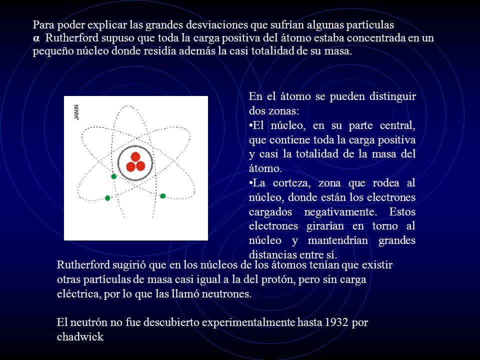 Para poder explicar las grandes desviaciones que sufrían algunas partículas α Rutherford supuso que toda la carga positiva del átomo estaba concentrada en un pequeño núcleo donde residía además la casi totalidad de su masa.