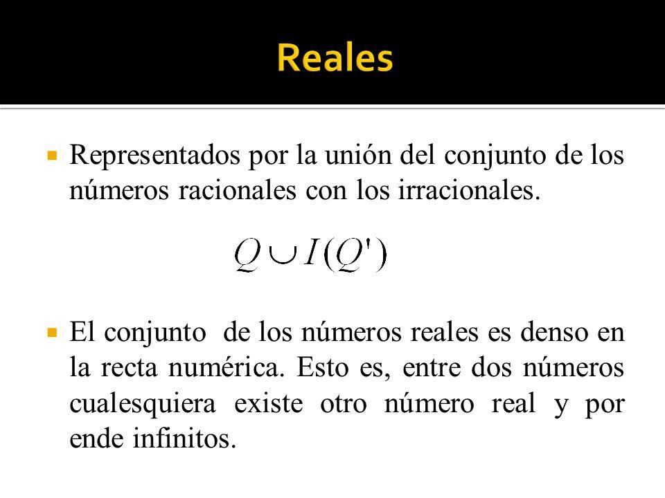 Reales Representados por la unión del conjunto de los números racionales con los irracionales.