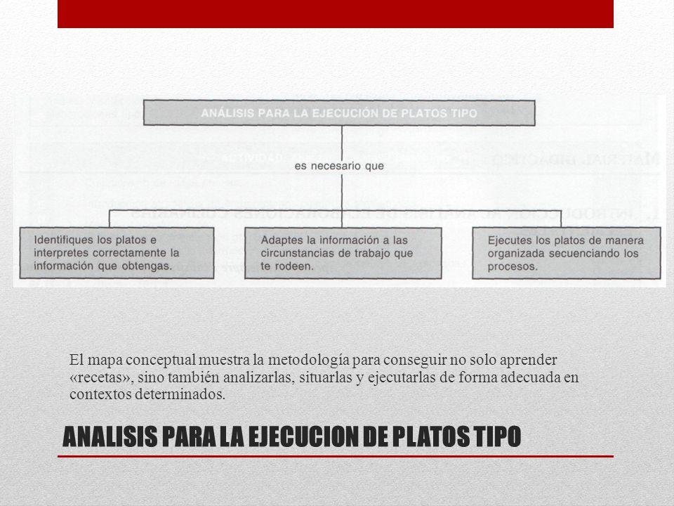 ANALISIS PARA LA EJECUCION DE PLATOS TIPO