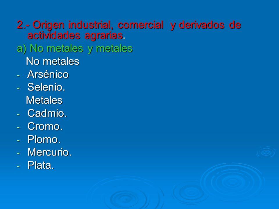 2.- Origen industrial, comercial y derivados de actividades agrarias.
