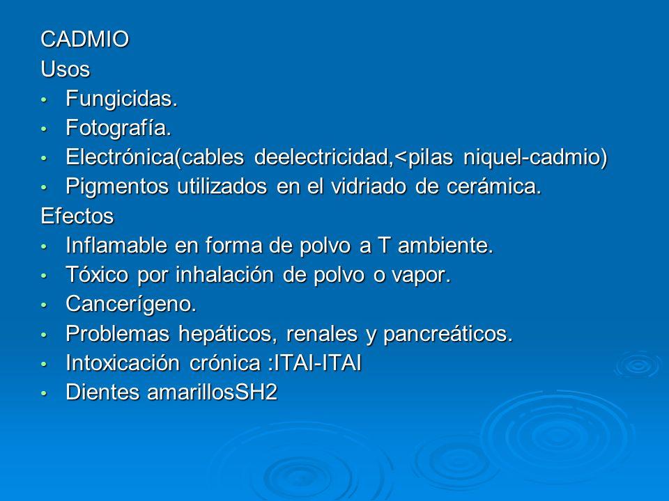 CADMIOUsos. Fungicidas. Fotografía. Electrónica(cables deelectricidad,<pilas niquel-cadmio) Pigmentos utilizados en el vidriado de cerámica.