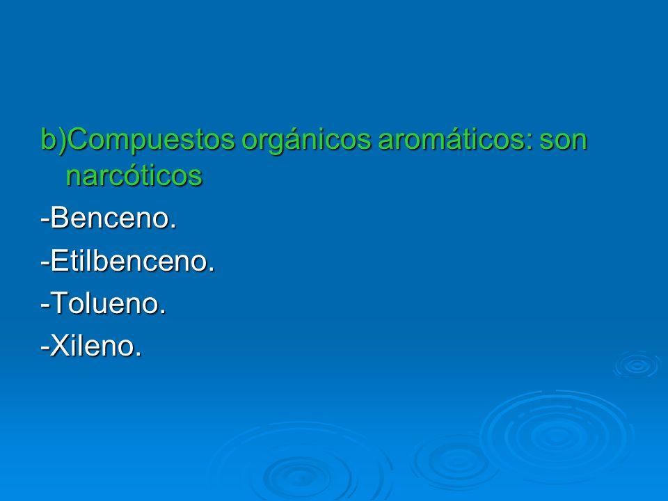 b)Compuestos orgánicos aromáticos: son narcóticos