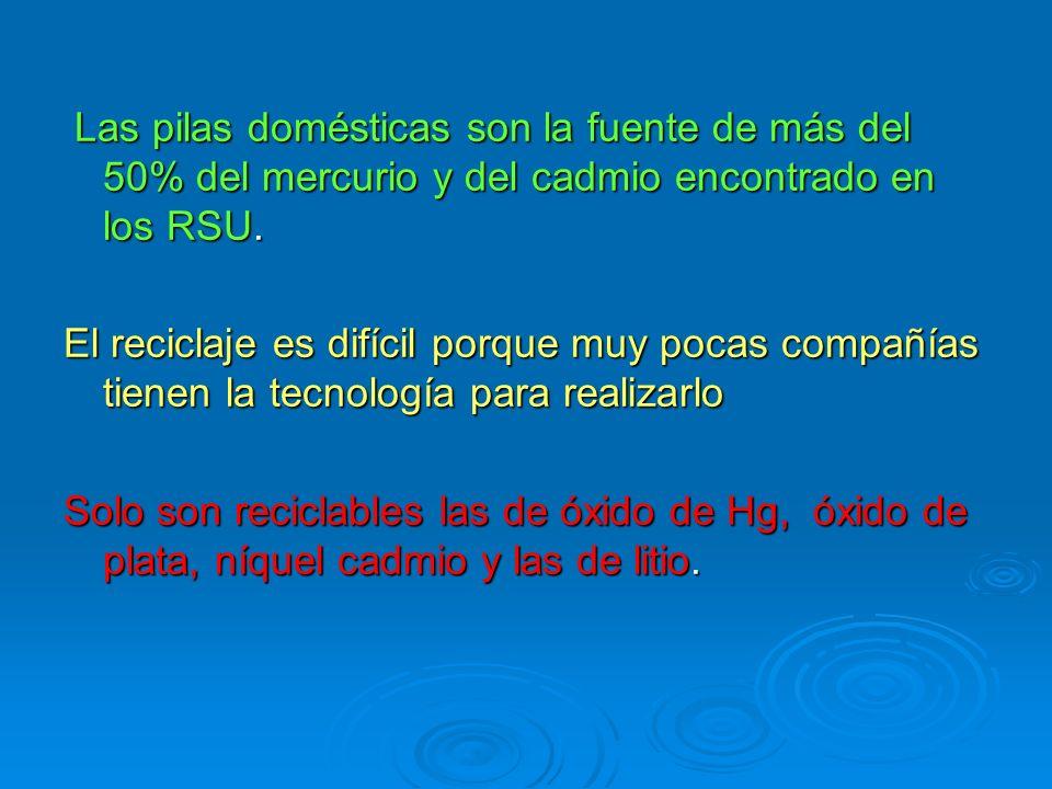 Las pilas domésticas son la fuente de más del 50% del mercurio y del cadmio encontrado en los RSU.