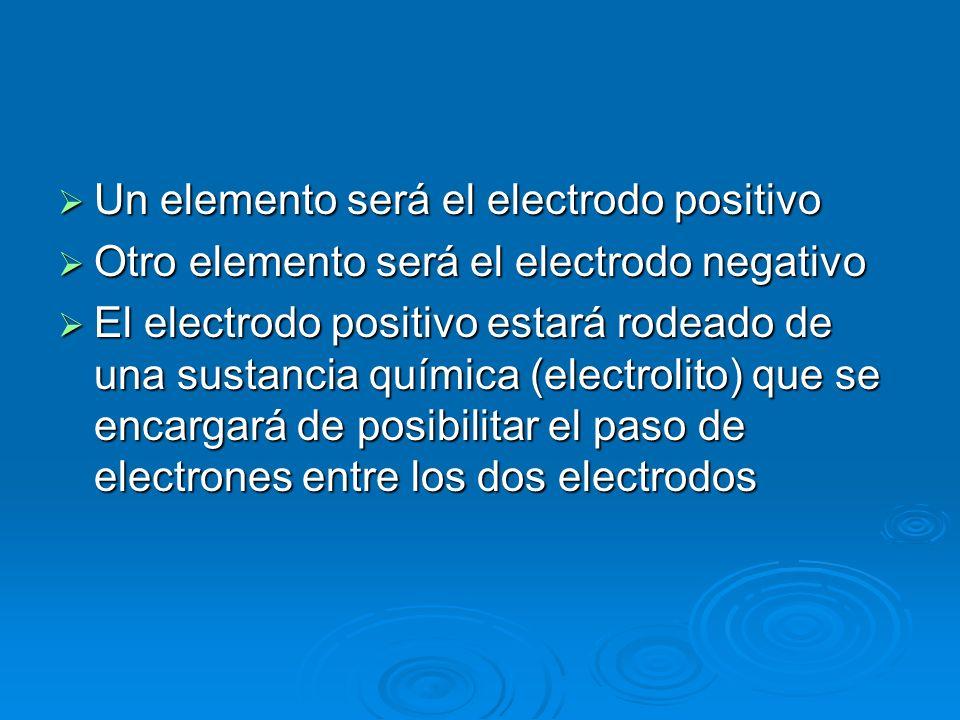 Un elemento será el electrodo positivo
